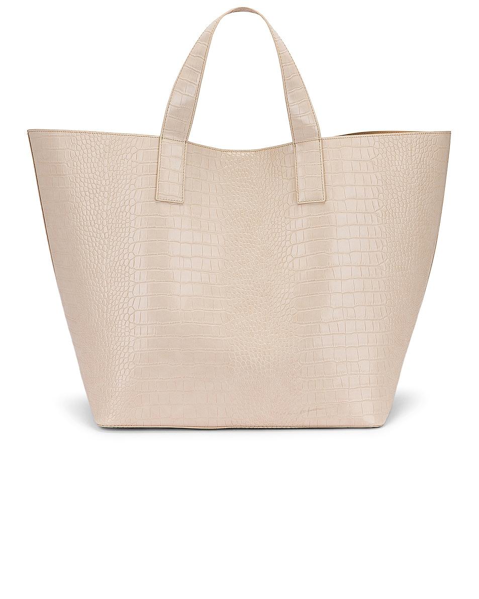 Image 3 of Studio Amelia 3.3 Vegan Oversized Shopper Bag in Ecru Croc Leather