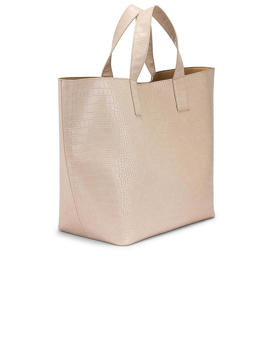 Image 4 of Studio Amelia 3.3 Vegan Oversized Shopper Bag in Ecru Croc Leather