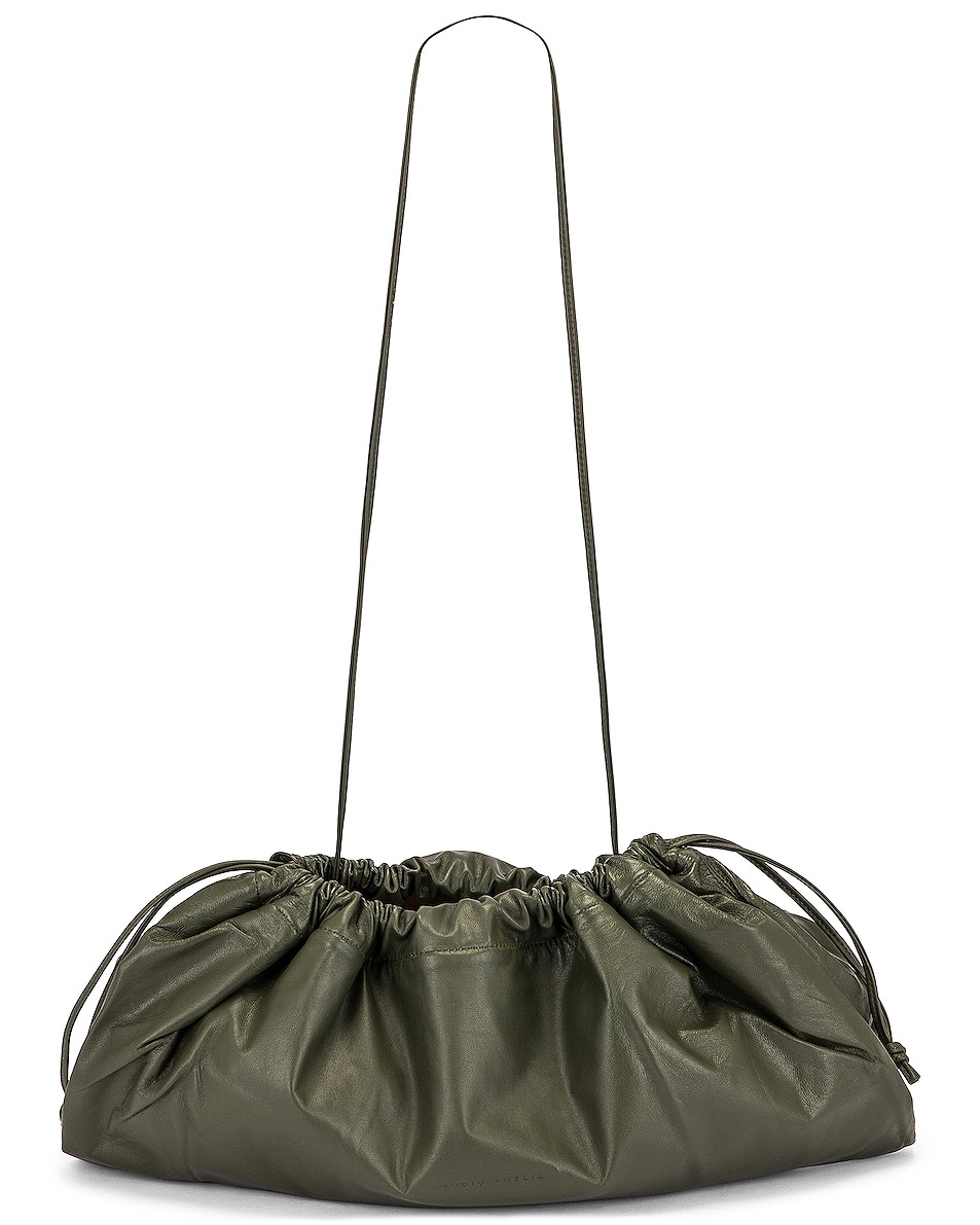 Image 6 of Studio Amelia 1.3 Maxi Drawstring Bag in Olive Nappa Leather
