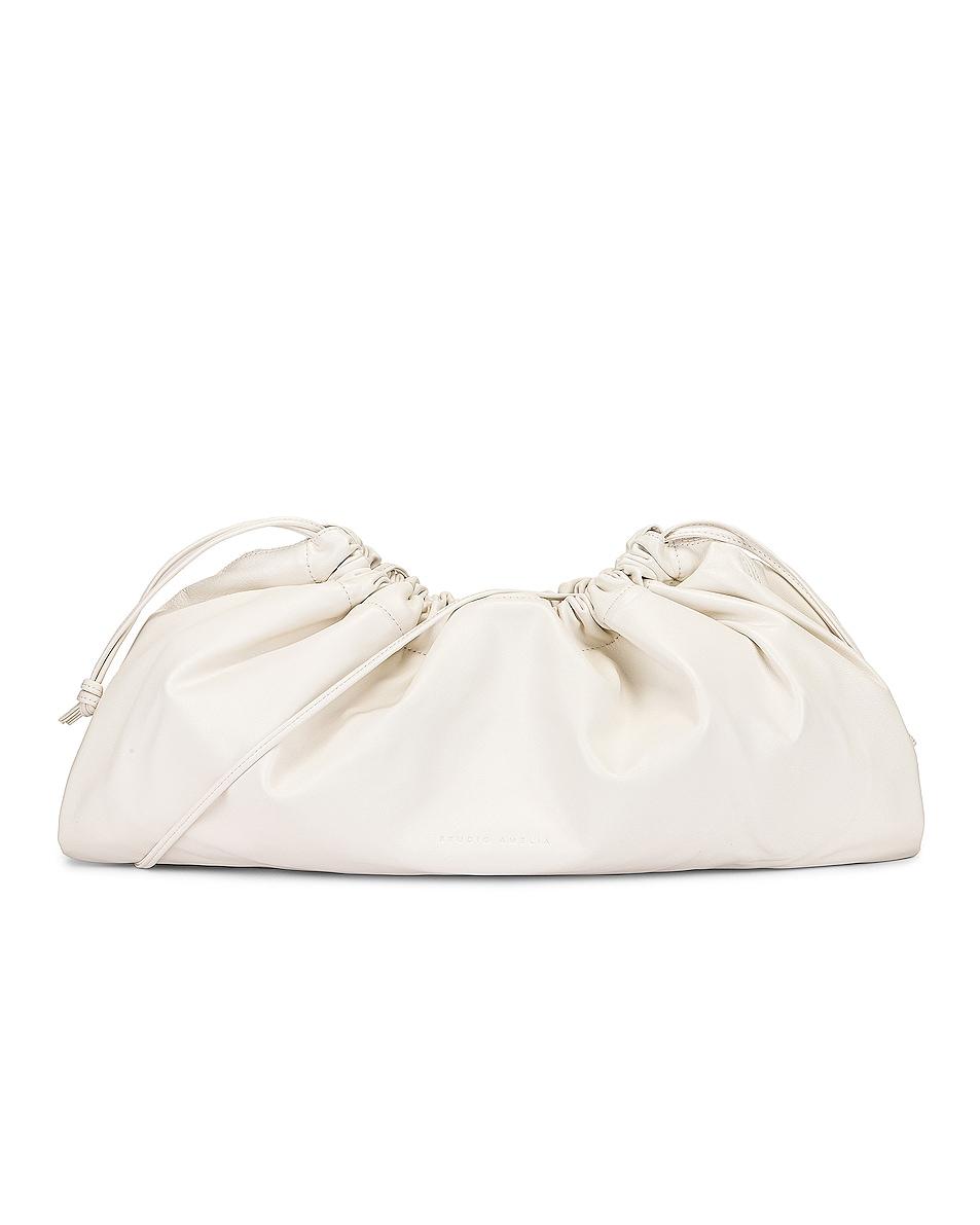 Image 1 of Studio Amelia 1.3 Maxi Drawstring Bag in White Nappa Leather