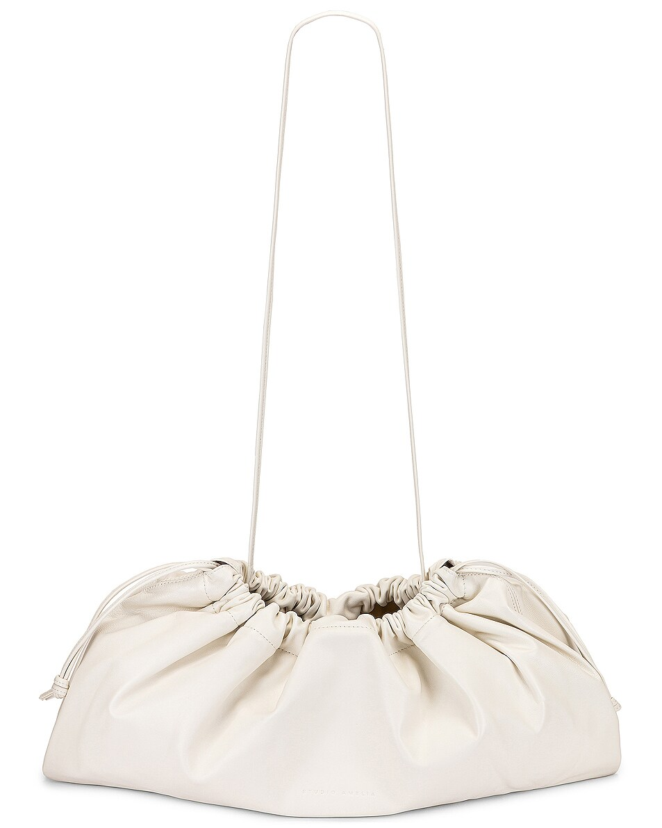 Image 6 of Studio Amelia 1.3 Maxi Drawstring Bag in White Nappa Leather