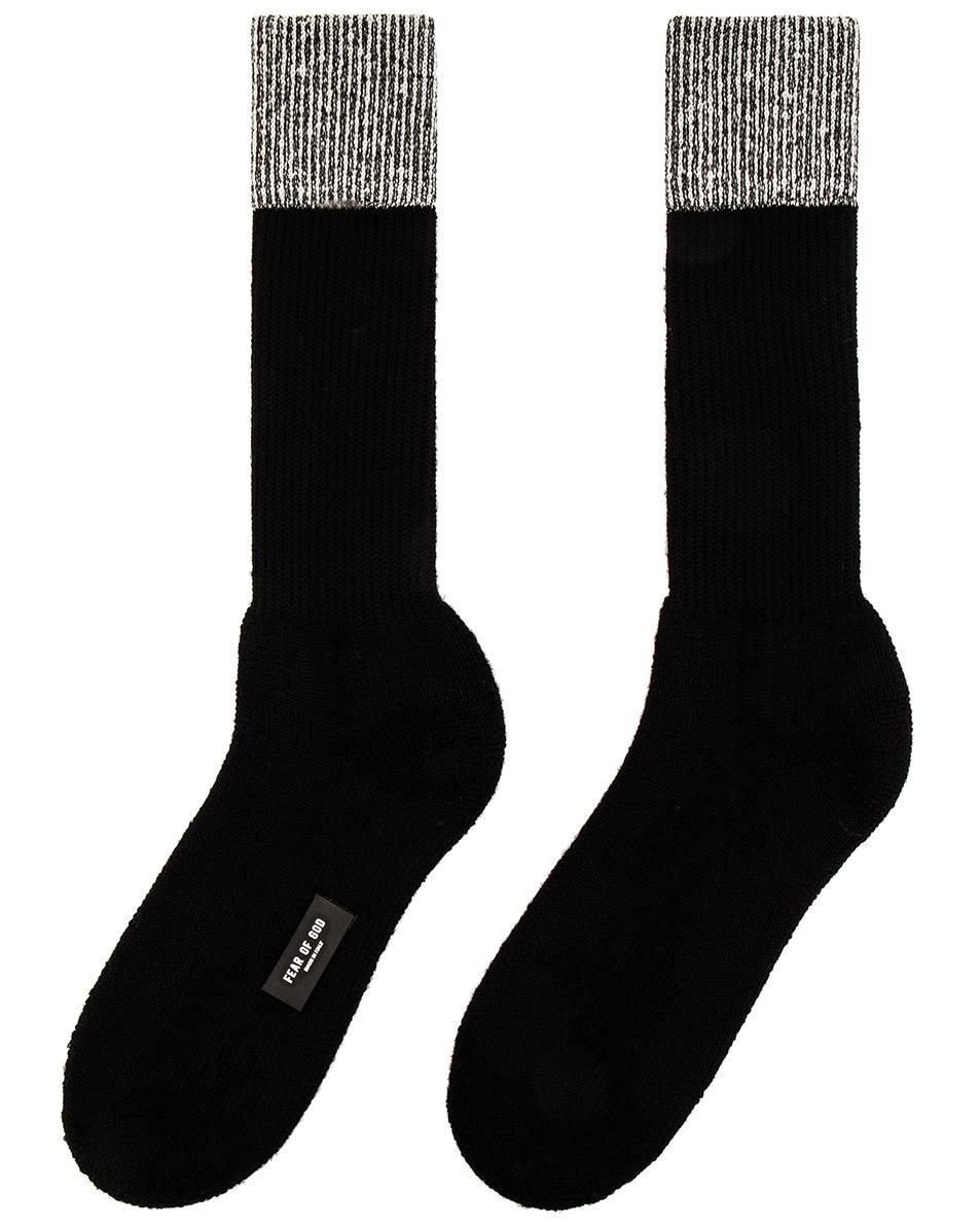 Image 1 of Fear of God 6th Collection Socks in Melange & Black