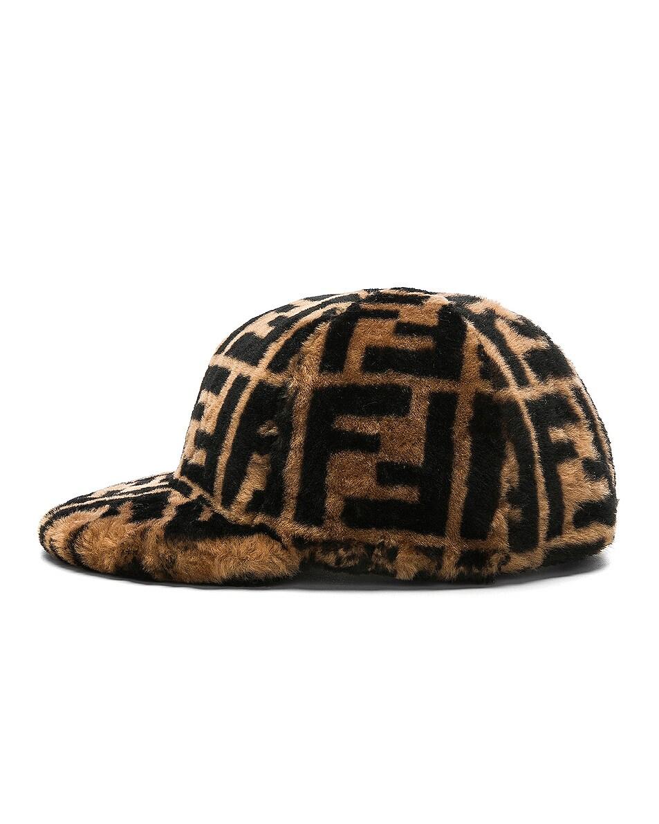 Image 3 of Fendi Shearling Logo Print Cap in Brown & Black