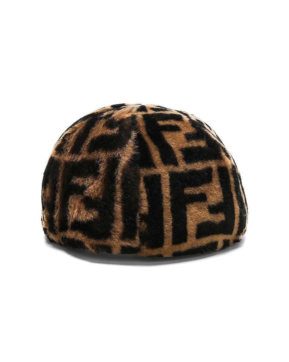 Image 4 of Fendi Shearling Logo Print Cap in Brown & Black