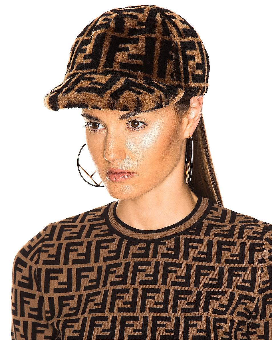 Image 5 of Fendi Shearling Logo Print Cap in Brown & Black