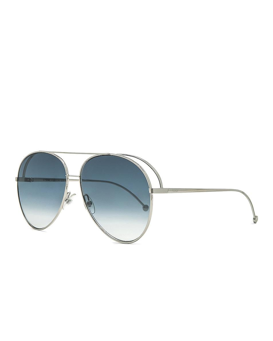 Image 2 of Fendi Aviator Sunglasses in Palladium & Dark Blue