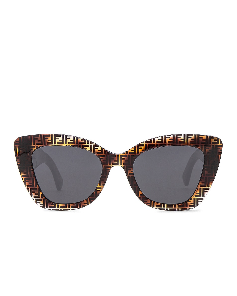 Image 1 of Fendi Logo Trim Sunglasses in Dark Havana & Grey Blue