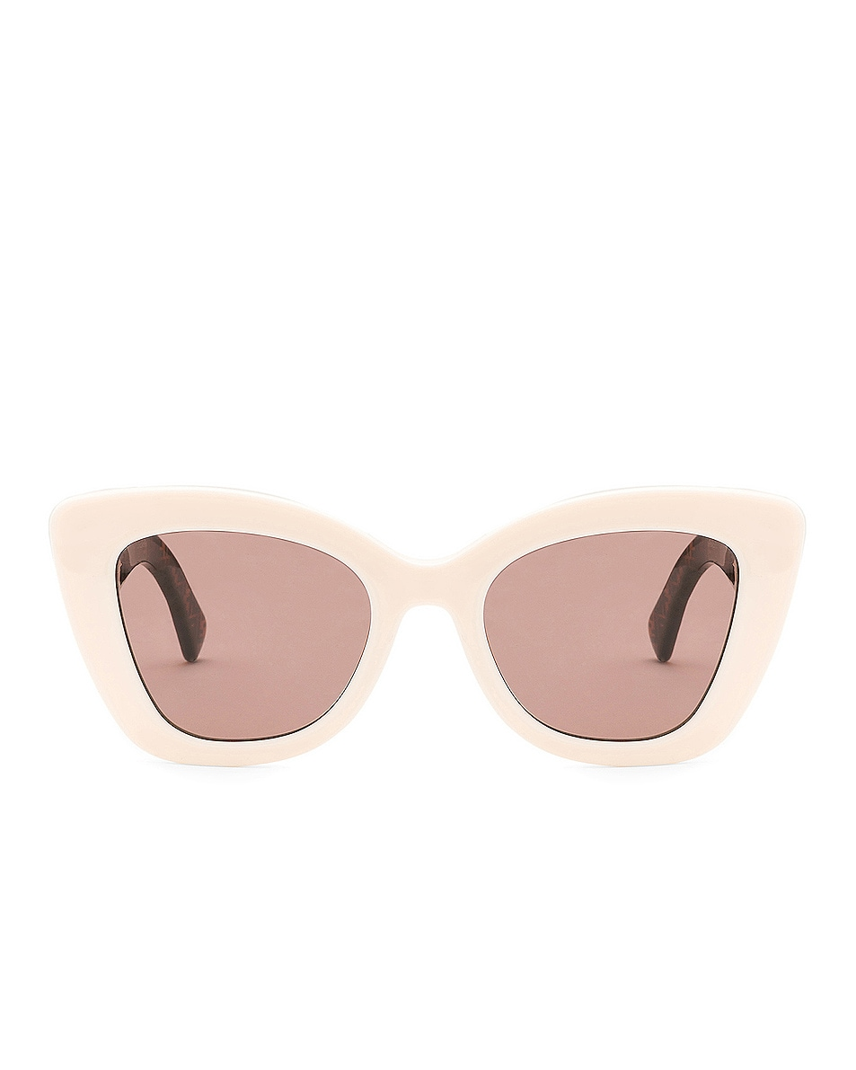 Image 1 of Fendi Logo Sunglasses in White & Brown