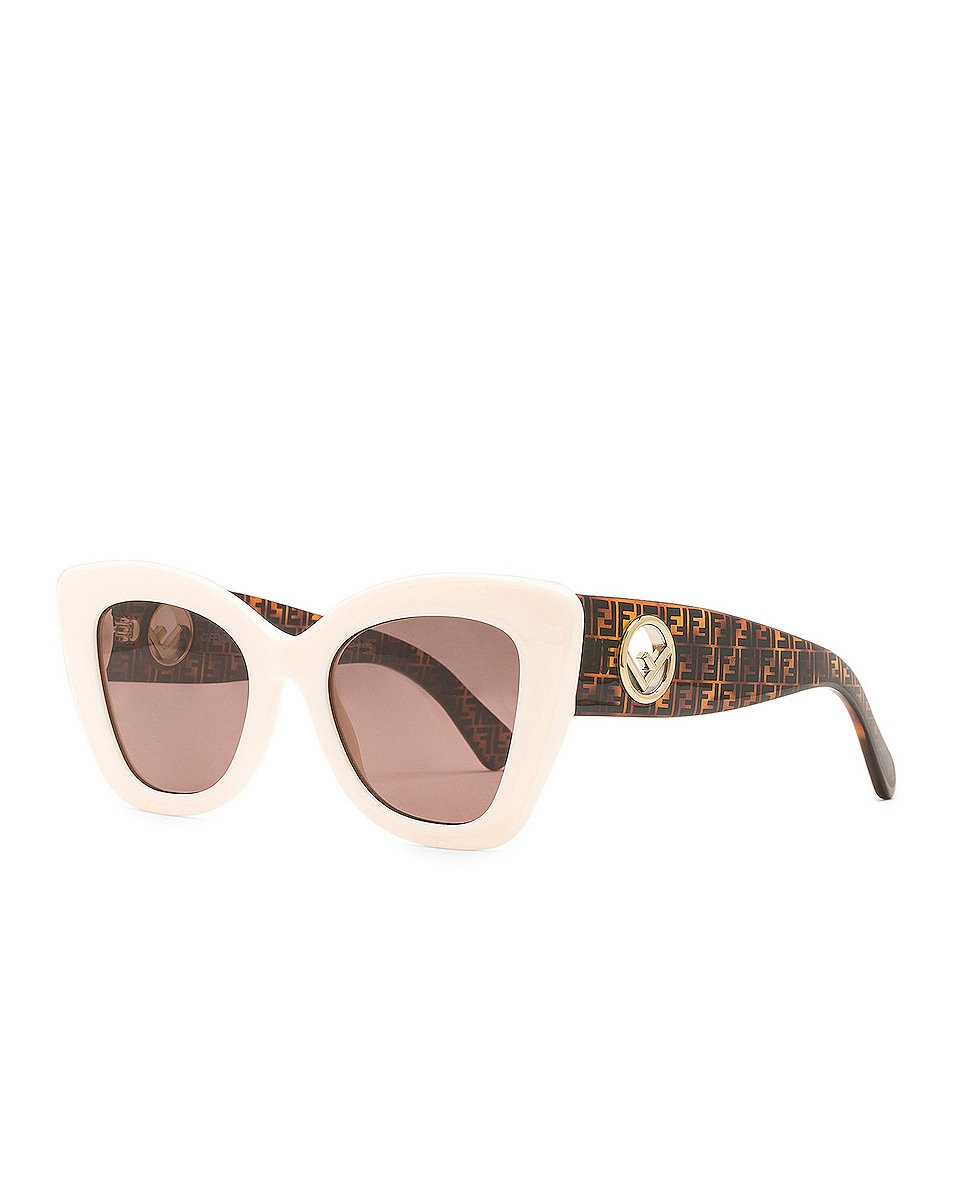 Image 2 of Fendi Logo Sunglasses in White & Brown