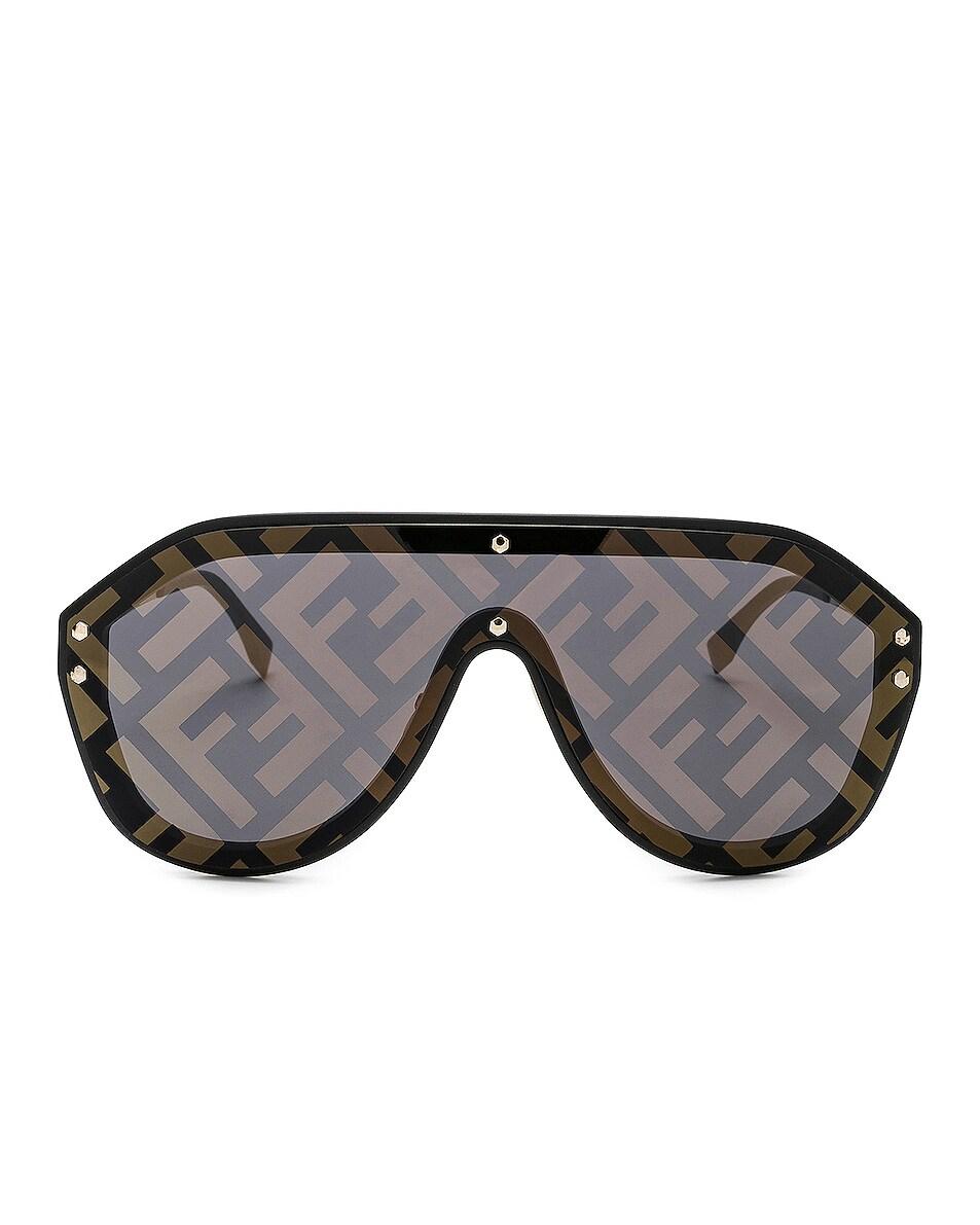 Image 1 of Fendi Logo Face Sunglasses in Black Gold & Gold Decor