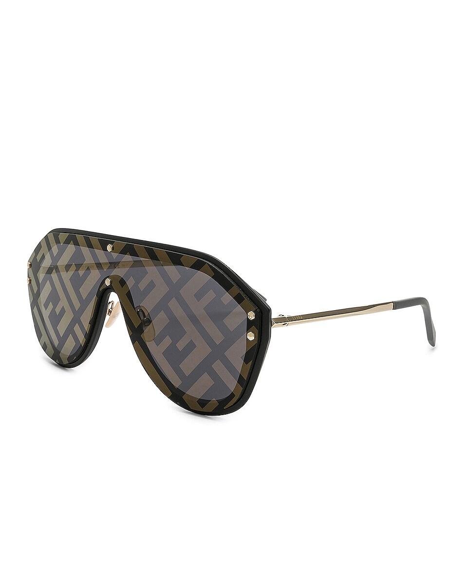 Image 2 of Fendi Logo Face Sunglasses in Black Gold & Gold Decor