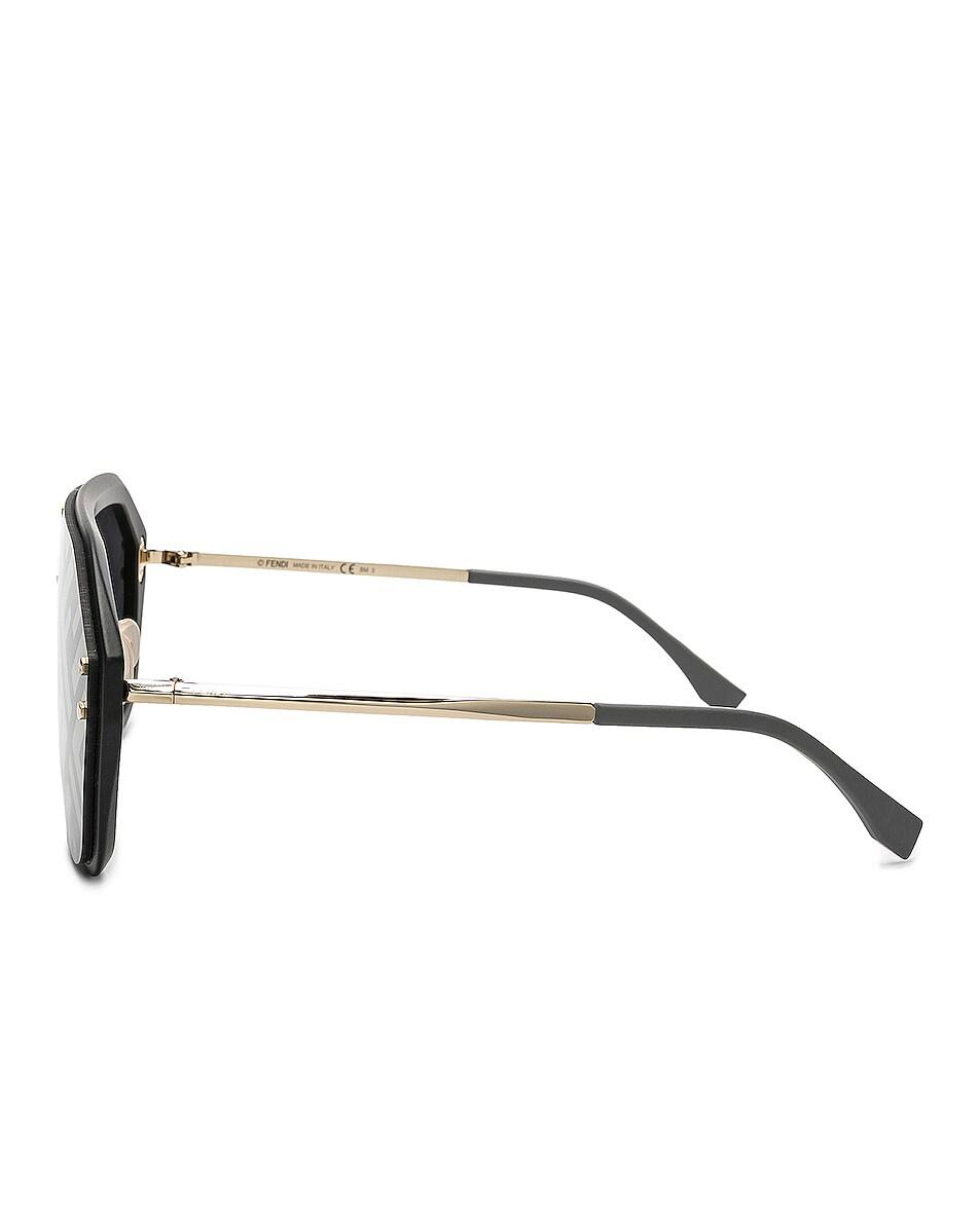 Image 3 of Fendi Logo Face Sunglasses in Black Gold & Gold Decor