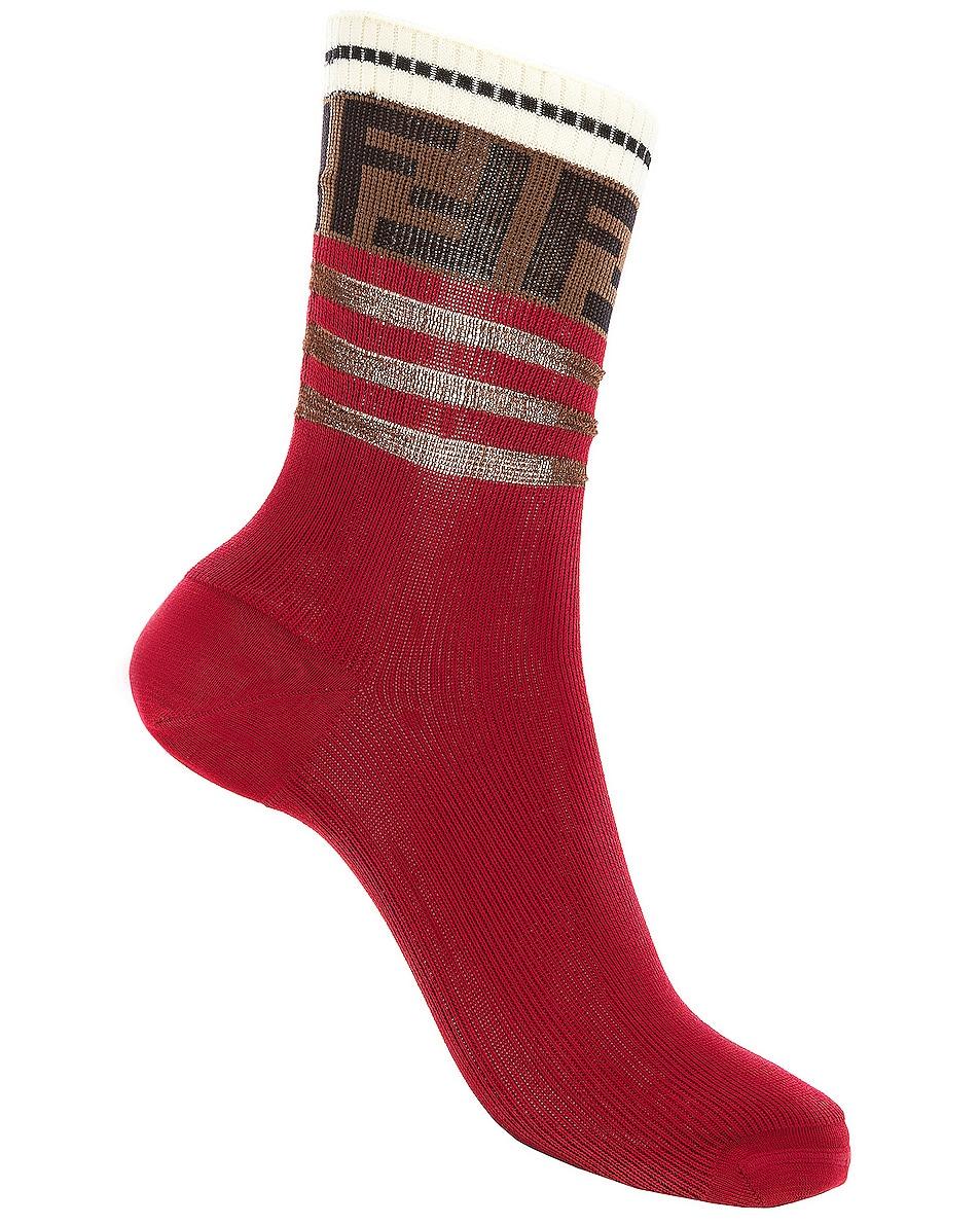 Image 1 of Fendi Logo Trim Crew Socks in Red