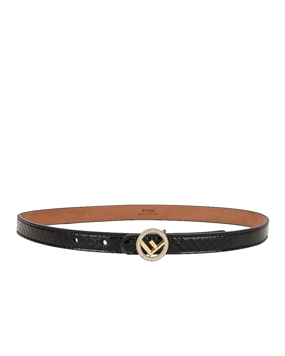 Image 2 of Fendi Small Logo Belt in Black