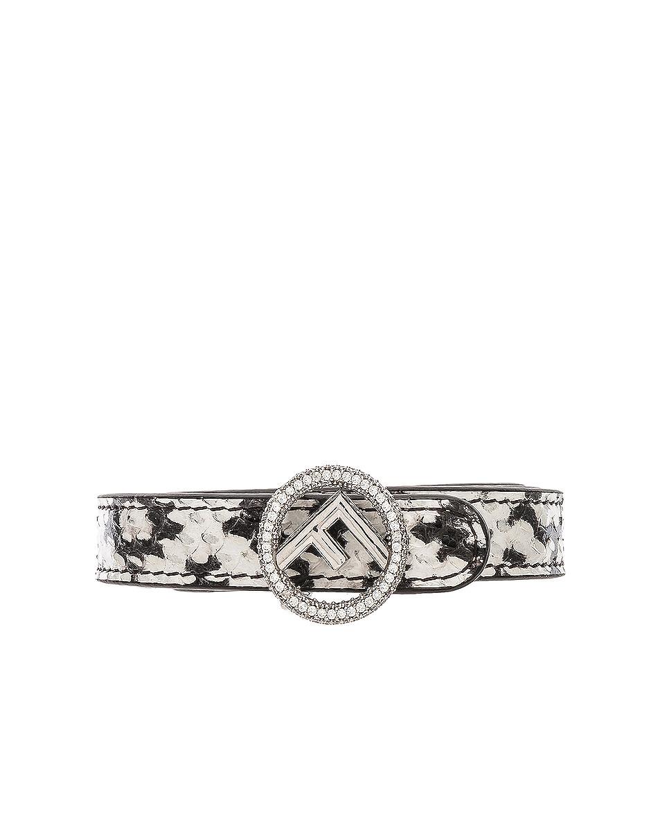 Image 1 of Fendi Small Logo Belt in Black & White