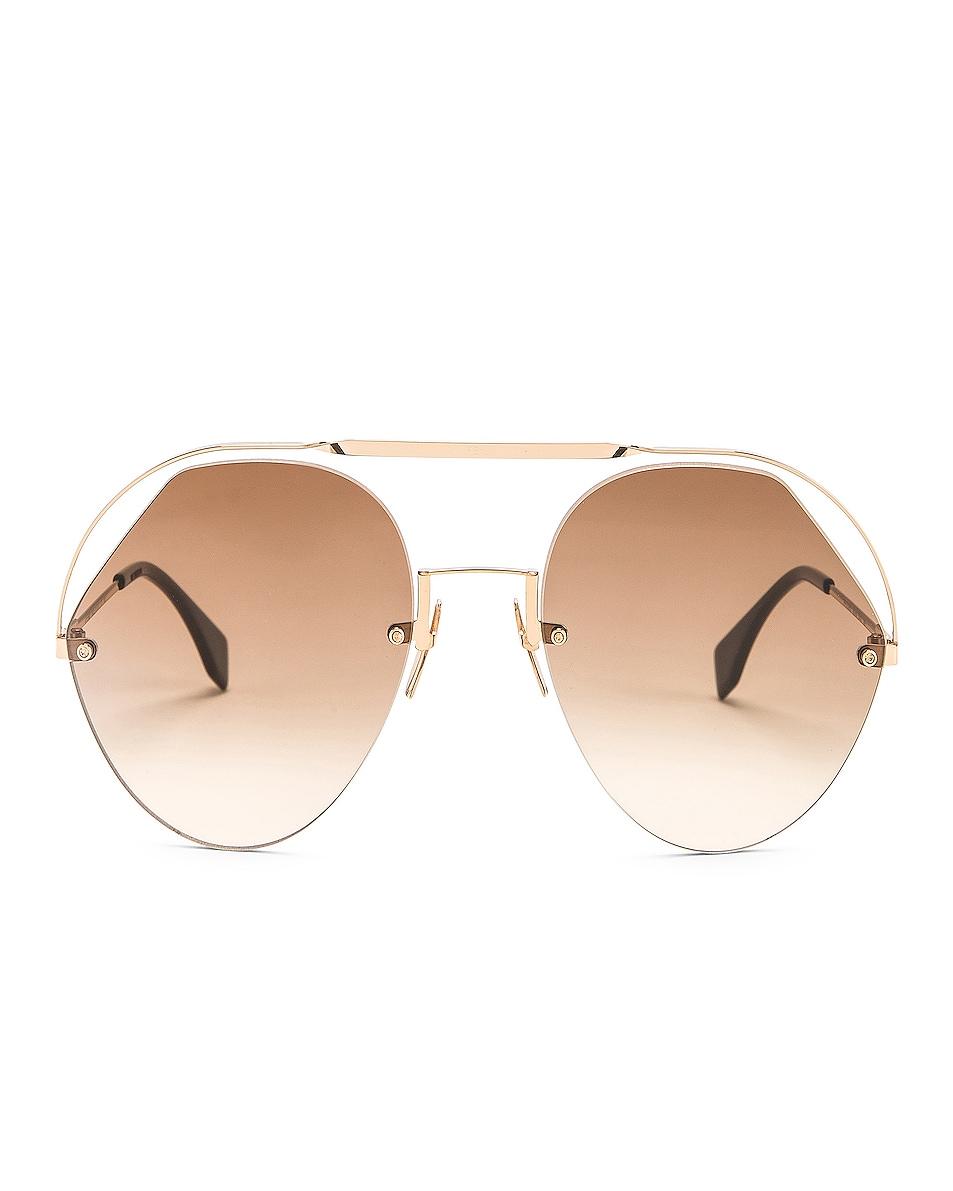 Image 1 of Fendi Round Aviator Sunglasses in Brown