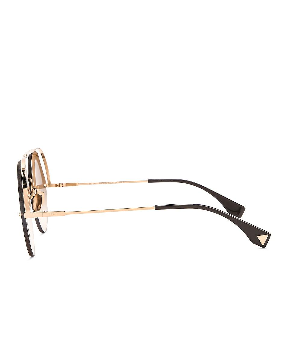 Image 3 of Fendi Round Aviator Sunglasses in Brown