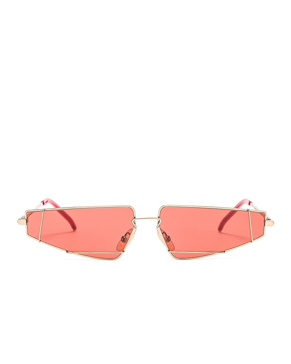 Image 1 of Fendi Skinny Cat Eye Sunglasses in Red