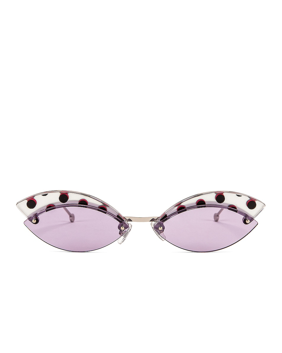 Image 1 of Fendi Defender Butterfly Polka Dot Sunglasses in Lilac