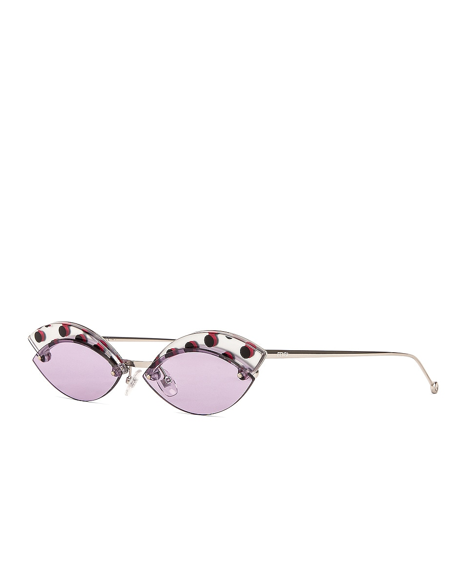 Image 2 of Fendi Defender Butterfly Polka Dot Sunglasses in Lilac