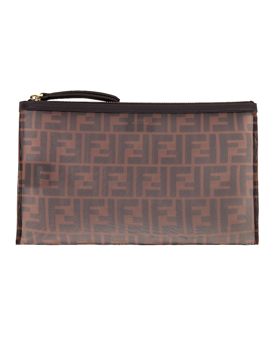 Image 1 of Fendi Large FF Zip Pouch in Brown & Black