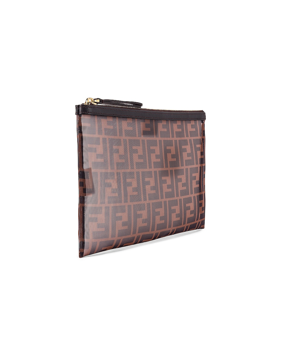 Image 4 of Fendi Large FF Zip Pouch in Brown & Black