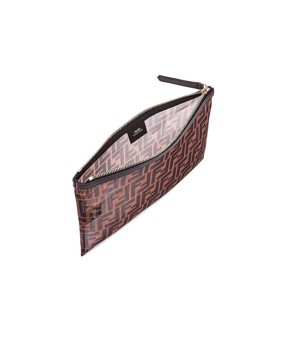Image 5 of Fendi Large FF Zip Pouch in Brown & Black