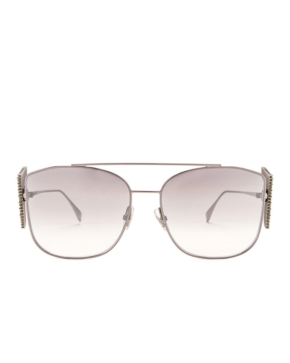 Image 1 of Fendi FFreedom Square Sunglasses in Ruthenium & Grey