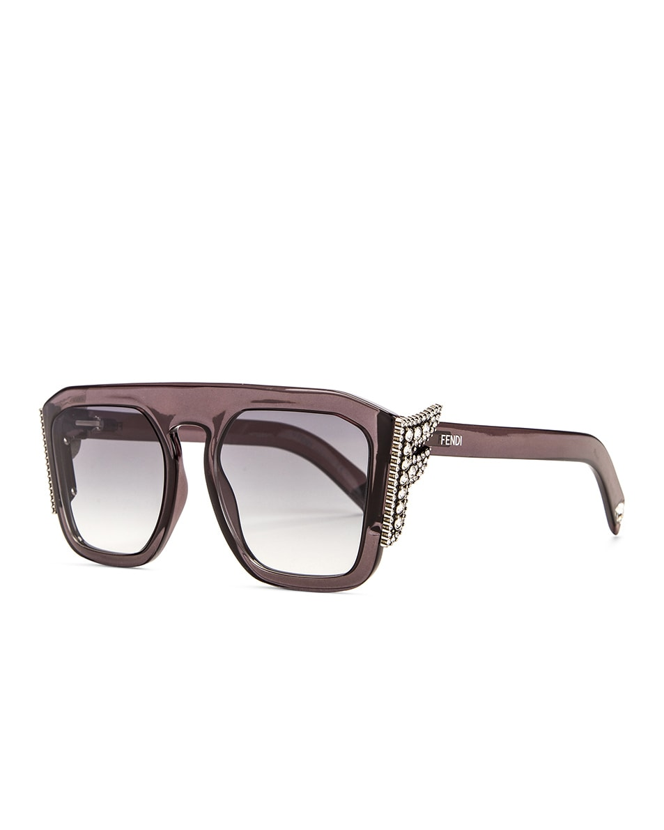 Image 2 of Fendi FFreedom Square Sunglasses in Grey & Dark Grey Gradient
