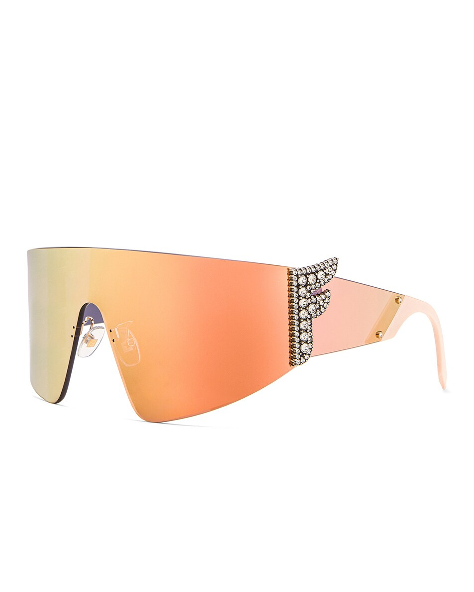 Image 2 of Fendi F Shield Sunglasses in Pink & Gray Rose Gold