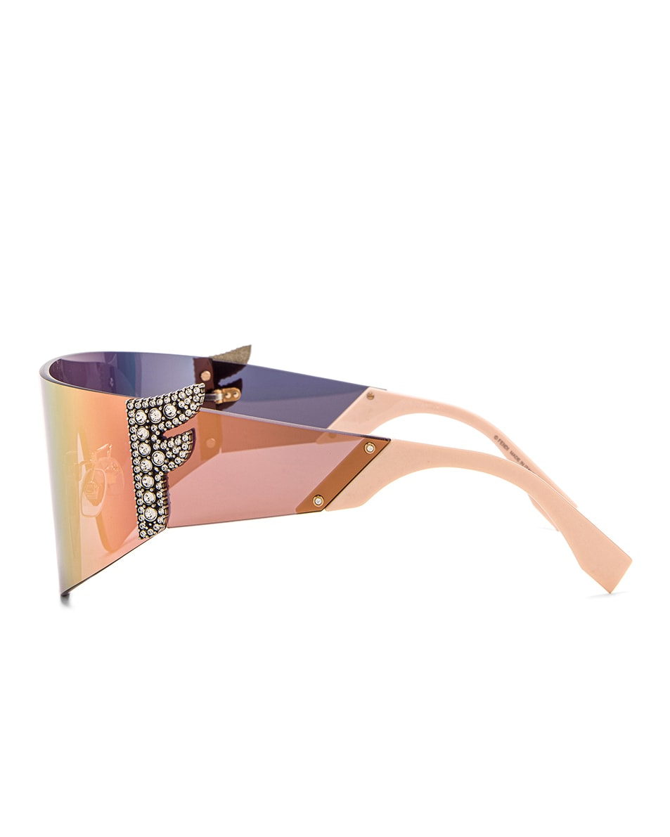 Image 3 of Fendi F Shield Sunglasses in Pink & Gray Rose Gold