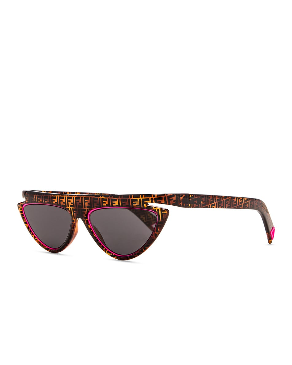 Image 2 of Fendi FFluo Cat Eye Sunglasses in Havana Pink & Grey Blue