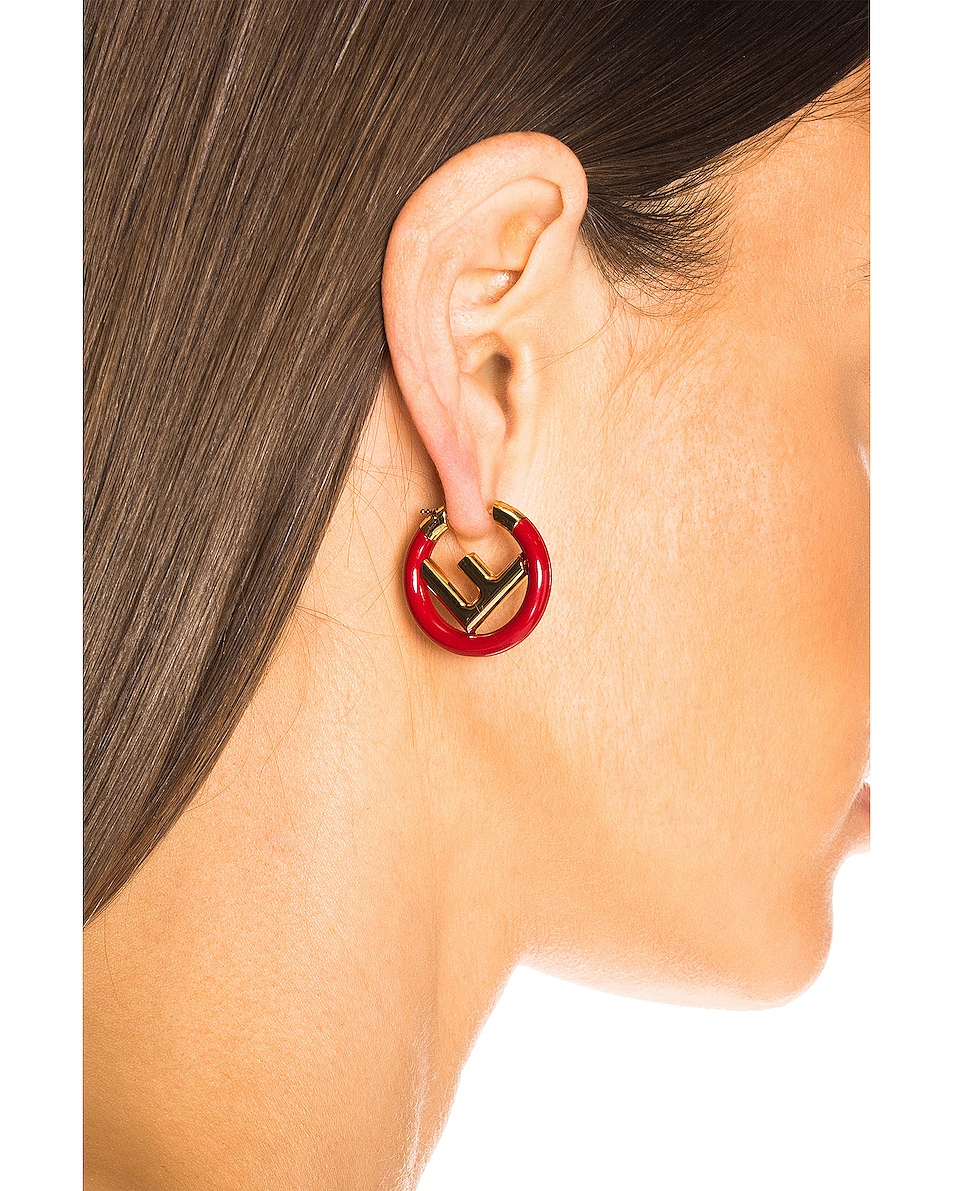 Image 2 of Fendi F is Fendi Earring in Red & Gold