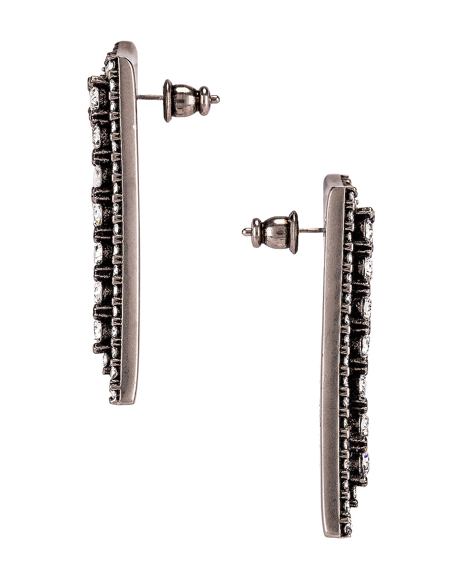Image 2 of Fendi Crystal Logo Earrings in Silver