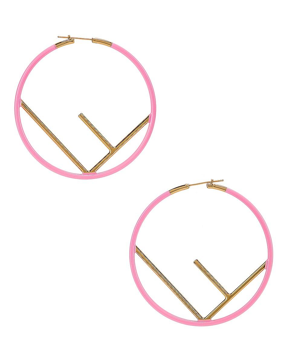 Image 1 of Fendi Logo Hoop Earrings in Fluo Pink