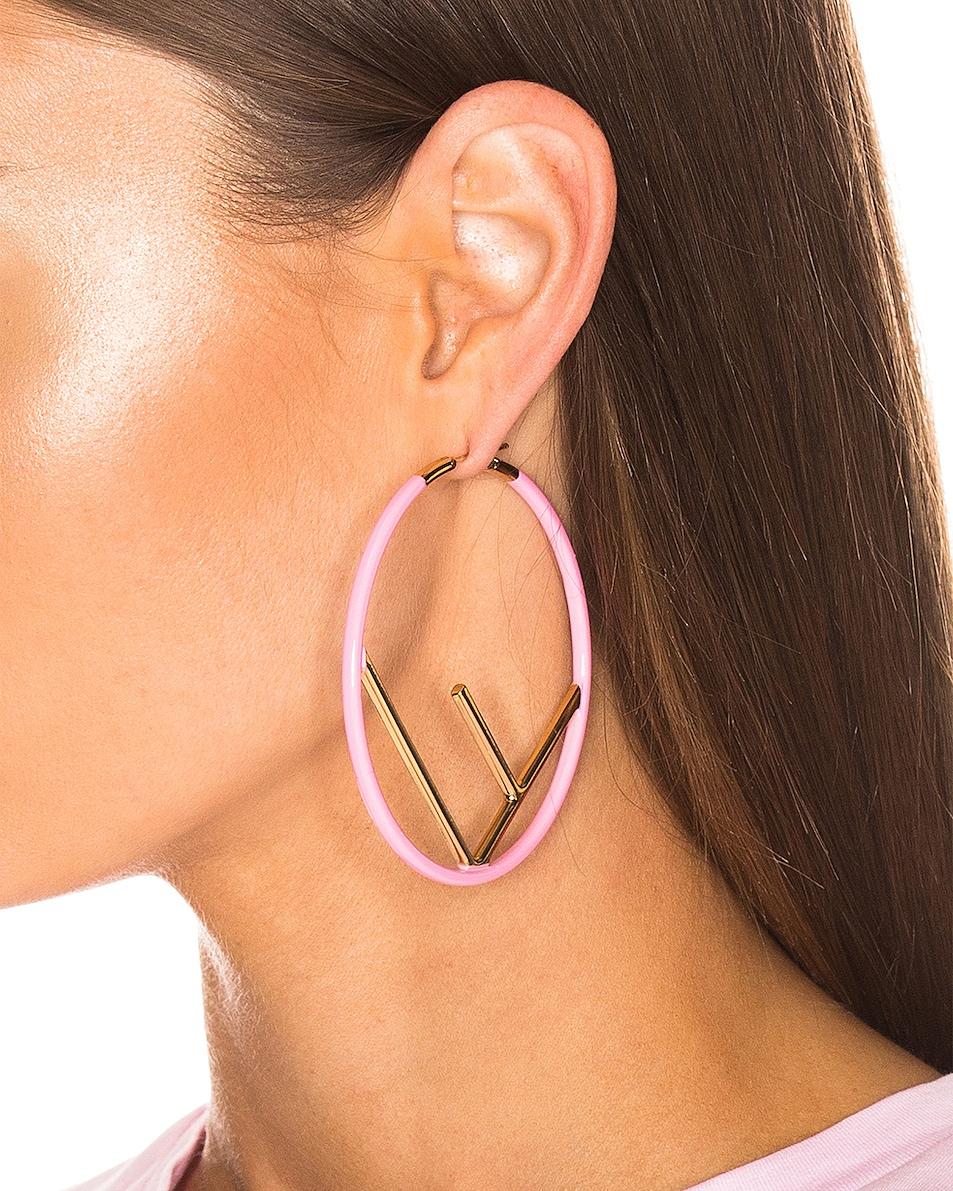 Image 2 of Fendi Logo Hoop Earrings in Fluo Pink