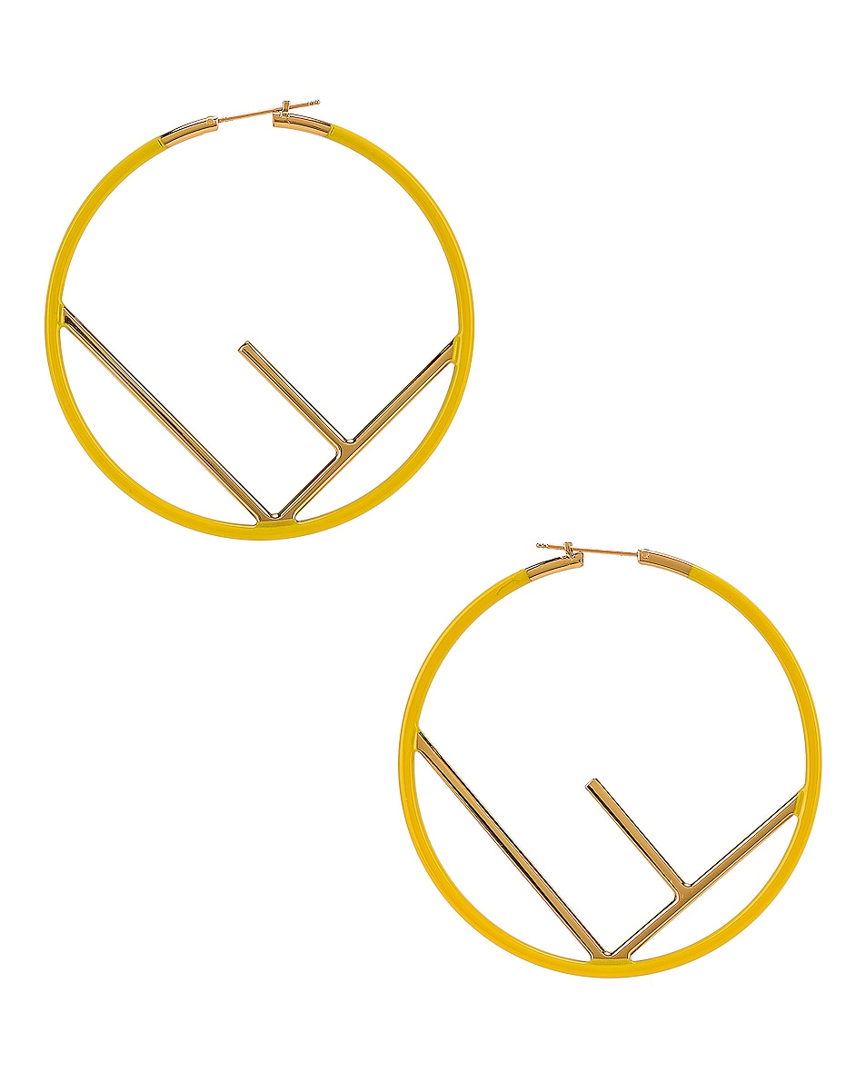Image 1 of Fendi Logo Hoop Earrings in Fluo Yellow