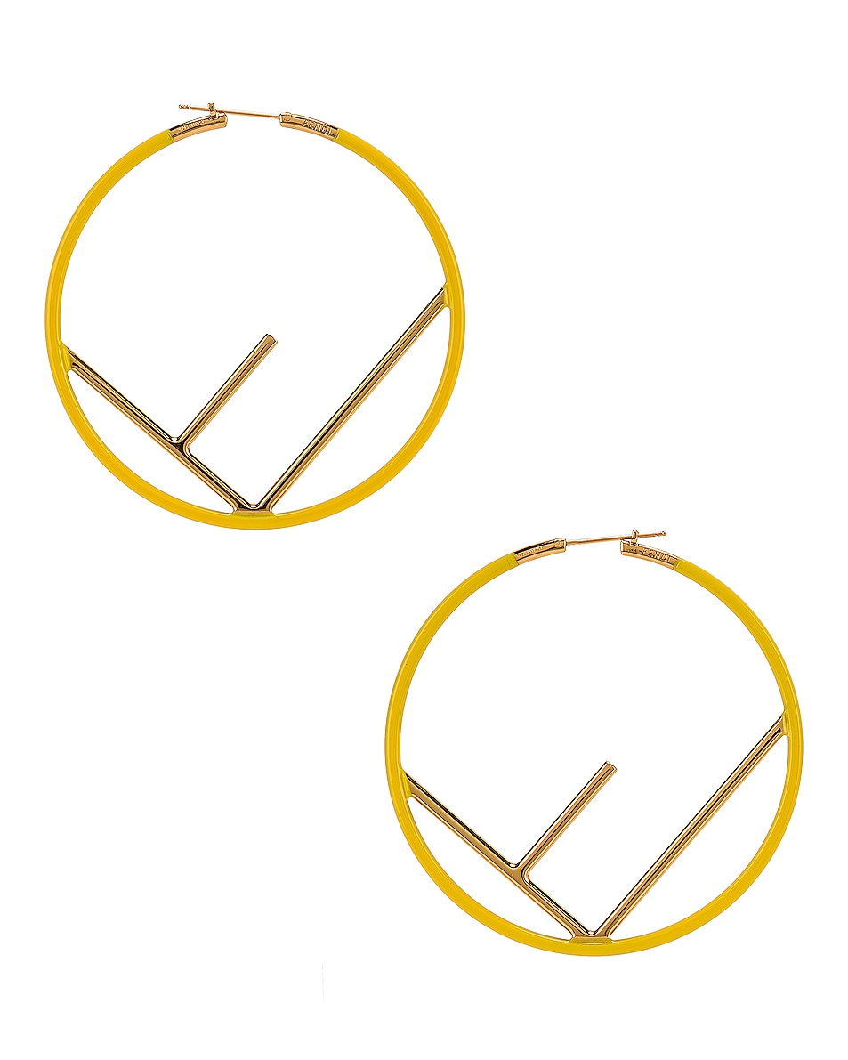 Image 4 of Fendi Logo Hoop Earrings in Fluo Yellow
