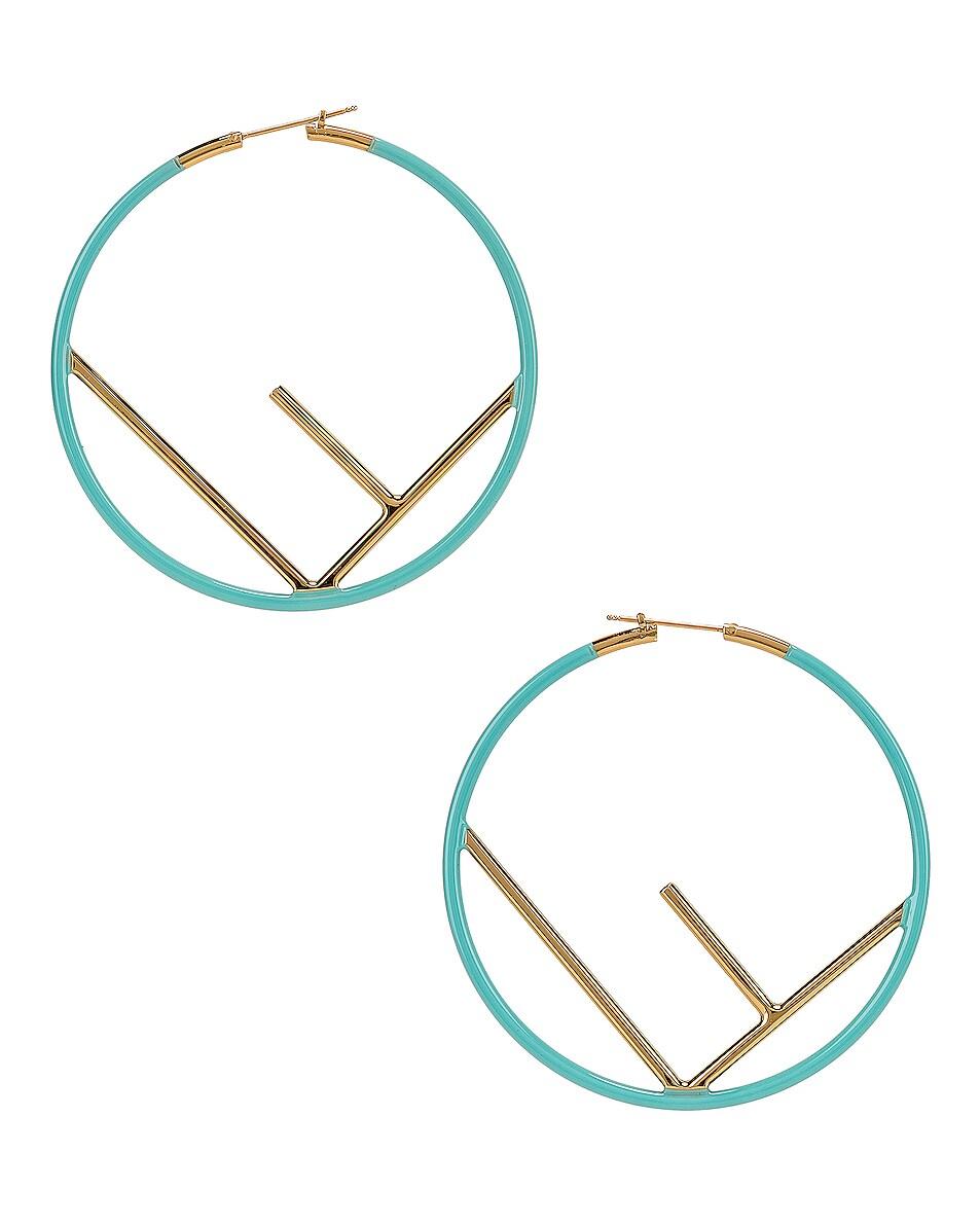 Image 1 of Fendi Logo Hoop Earrings in Tiffany Blue