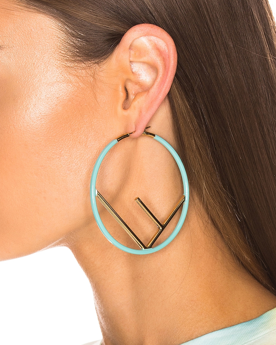 Image 2 of Fendi Logo Hoop Earrings in Tiffany Blue