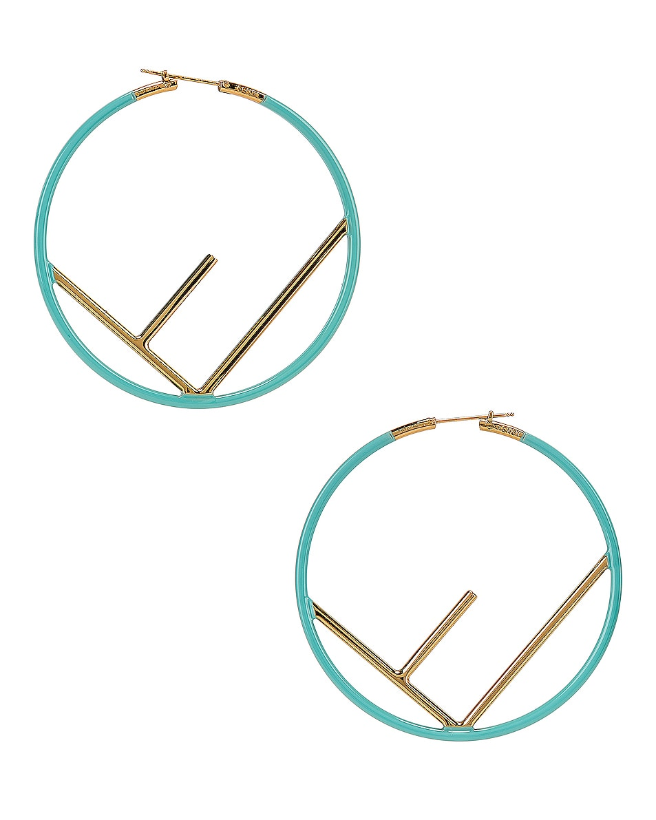 Image 4 of Fendi Logo Hoop Earrings in Tiffany Blue