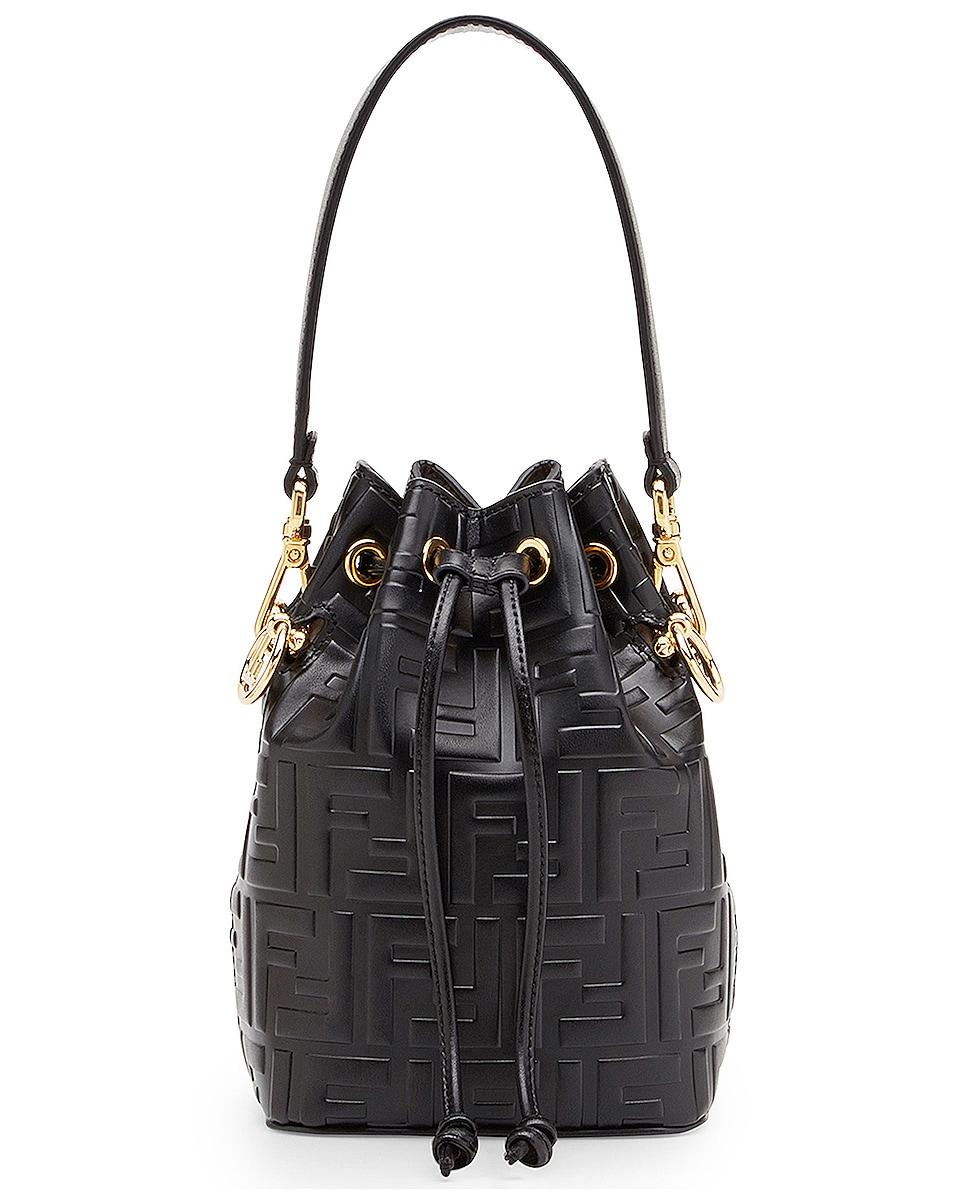 Image 1 of Fendi Logo Print Mon Tresor Crossbody Bag in Black