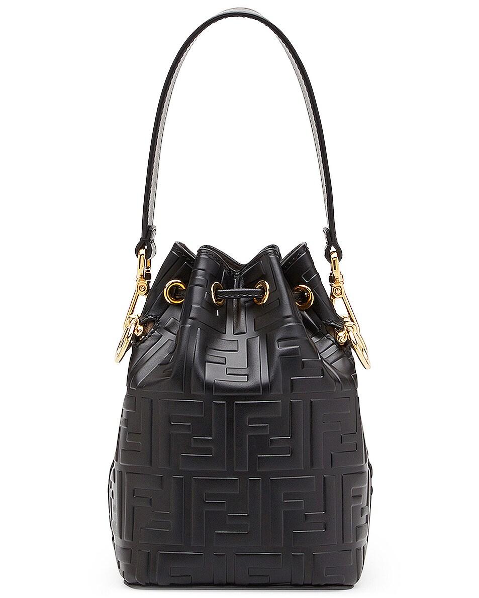 Image 3 of Fendi Logo Print Mon Tresor Crossbody Bag in Black