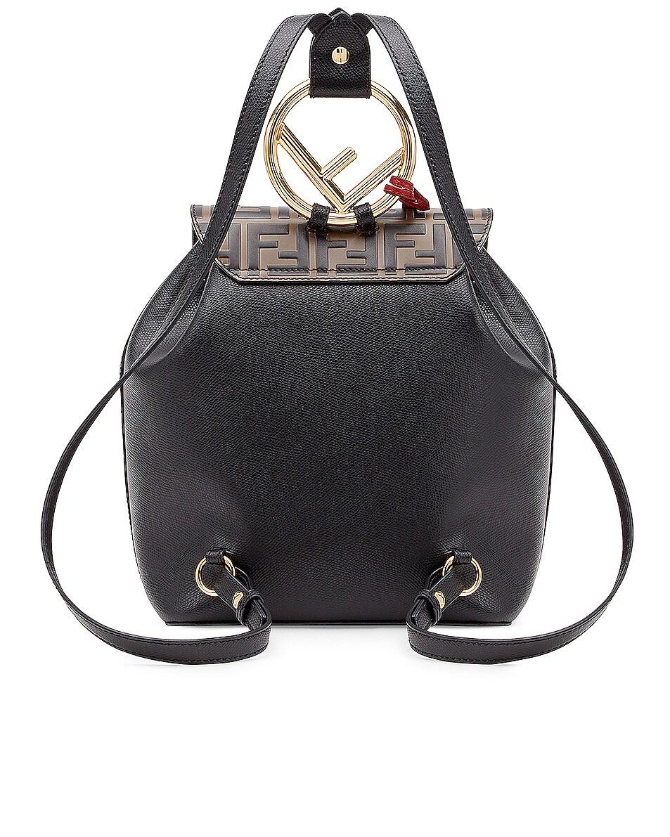 Image 2 of Fendi Logo Print Backpack in Black & Brown