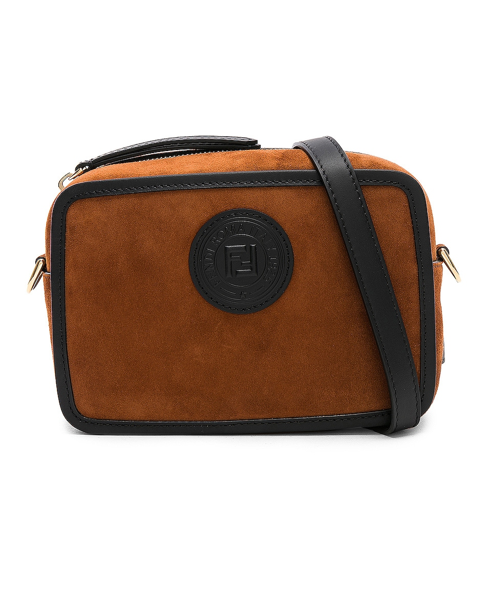 Image 1 of Fendi Mini Suede Logo Emblem Camera Case in Brown & Black
