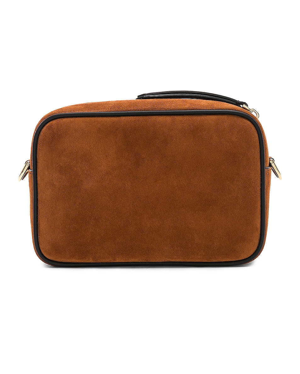 Image 3 of Fendi Mini Suede Logo Emblem Camera Case in Brown & Black