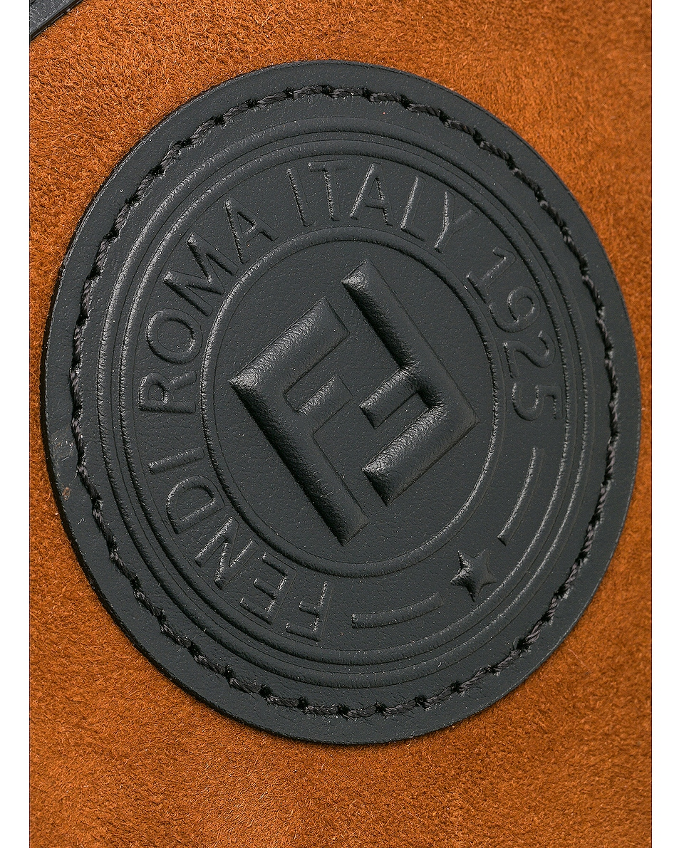 Image 8 of Fendi Mini Suede Logo Emblem Camera Case in Brown & Black