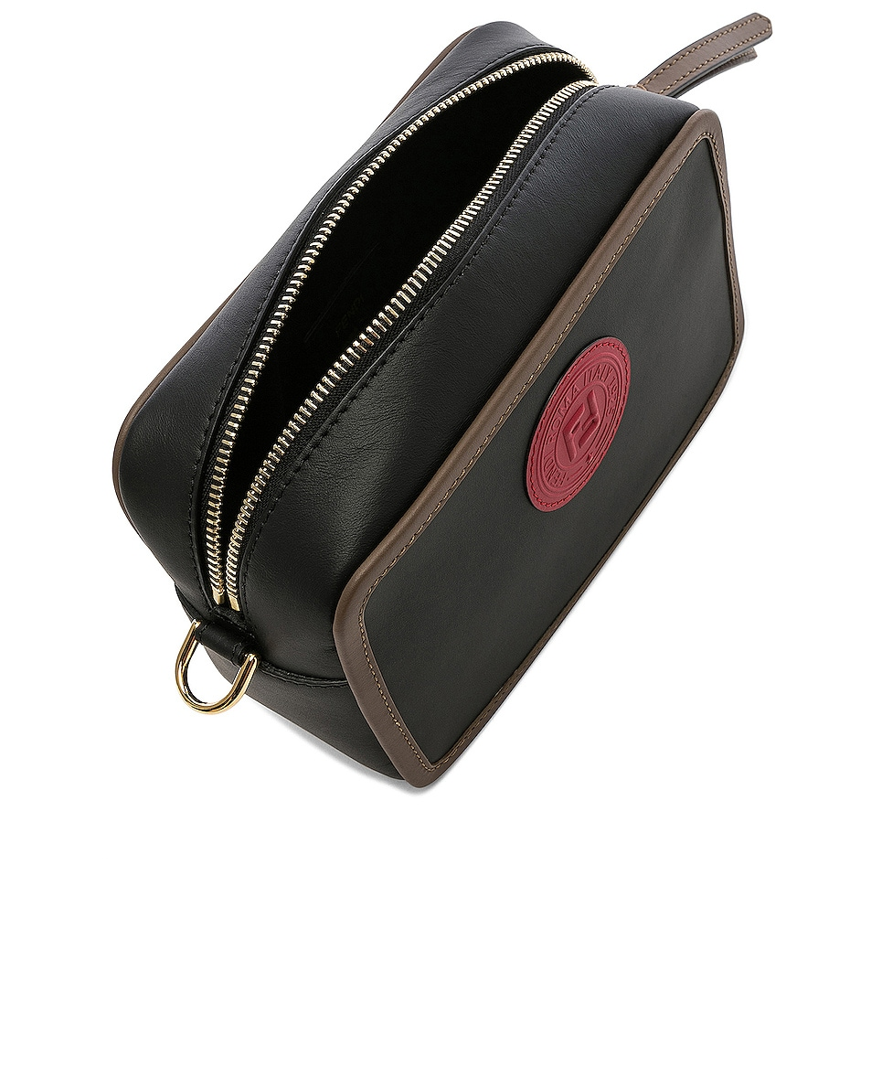Image 5 of Fendi Mini Logo Emblem Camera Case in Black, Brown & Strawberry