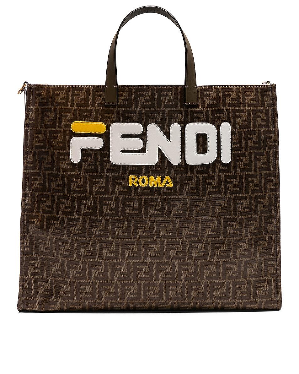 Image 1 of Fendi Fendi Mania Large Logo Tote in Brown & White