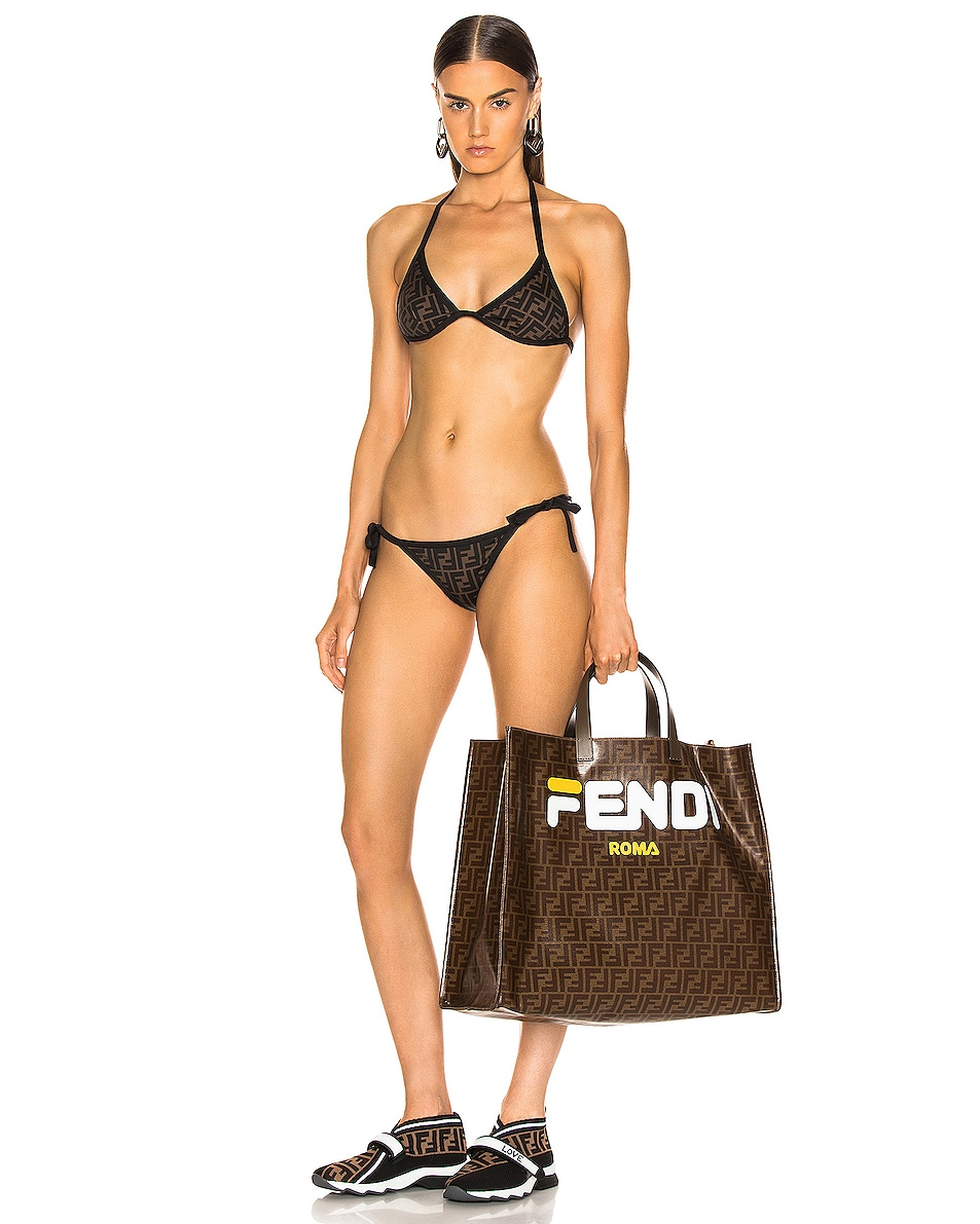 Image 2 of Fendi Fendi Mania Large Logo Tote in Brown & White
